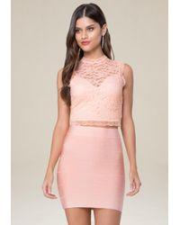 Bebe Pink Lace Sleeveless Crop Top