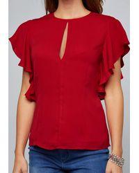 Bebe Red Vera Cascading Sleeve Top