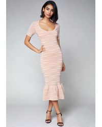 Bebe Pink Whitney Midi Dress
