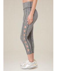 Bebe - Gray Side Slit Crop Leggings - Lyst