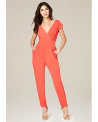 Bebe   Red Emma Bow Jumpsuit   Lyst