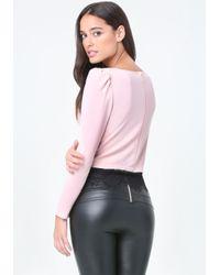 Bebe - Pink Solid Eyelash Lace Hem Top - Lyst
