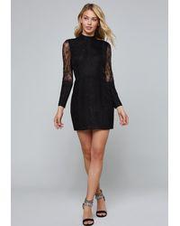 Bebe Black Lattice Trim Lace Dress