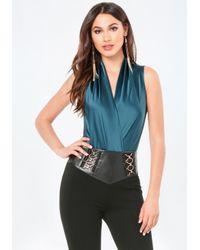 Bebe | Blue Silk Sleeveless Bodysuit | Lyst