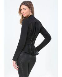Bebe Black Back Corset Wrap Jacket