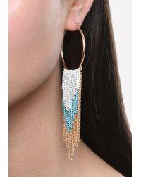 Bebe - White Color Fringe Hoop Earrings - Lyst
