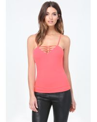 Bebe | Pink Front & Back Strappy Tank | Lyst