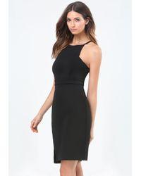 Bebe | Black Slant Slit Strappy Dress | Lyst