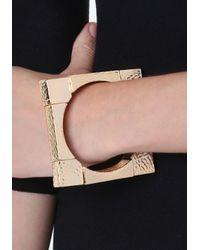 Bebe - Metallic Square Stretch Bracelet - Lyst