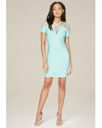Bebe - Blue Emily Lattice Dress - Lyst