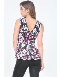 Bebe Multicolor Print Lace Trim Peplum Top
