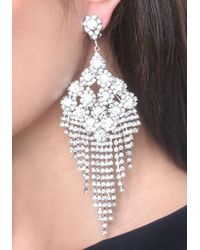 Bebe - Metallic Crystal Chandelier Earrings - Lyst