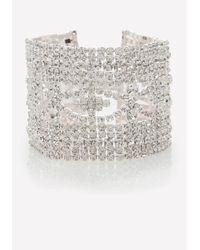 Bebe - Metallic Crystal Clasp Bracelet - Lyst