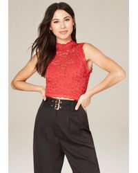 Bebe | Red Lace Sleeveless Crop Top | Lyst