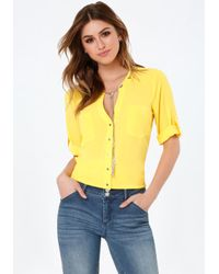 Bebe | Yellow Chain Neck Tie Top | Lyst