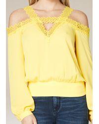 Bebe Yellow Lace Trim Cold Shoulder Top