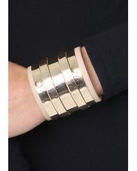 Bebe - Metallic Faux Leather & Metal Cuff - Lyst