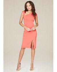 Bebe | Pink Asymmetric Neck Dress | Lyst