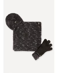 Bebe - Black Hat, Gloves & Scarf Set - Lyst