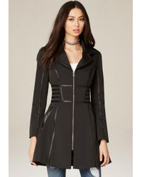 Bebe | Black Corset Trench Coat | Lyst