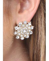 Bebe - Metallic Crystal Flower Earrings - Lyst