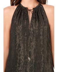 Bebe Black Ella Silk & Metallic Top
