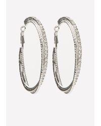 Bebe - Metallic Glitzy Twist Hoop Earrings - Lyst