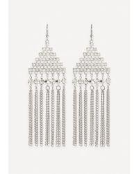 Bebe Metallic Fringe Geo Drop Earrings