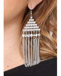 Bebe - Metallic Fringe Geo Drop Earrings - Lyst