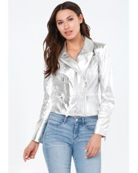Bebe   Metallic Silver Leather Moto Jacket   Lyst