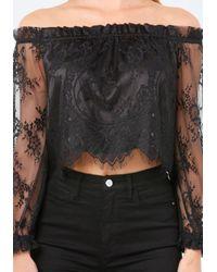 Bebe - Black Lace Off Shoulder Crop Top - Lyst