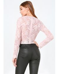 Bebe Pink Scallop Lace V-neck Top