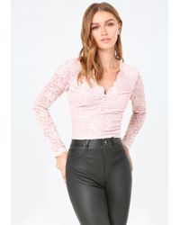 Bebe | Pink Scallop Lace V-neck Top | Lyst