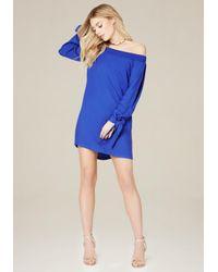 Bebe | Blue Dionne Off Shoulder Dress | Lyst