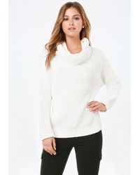Bebe | White Cowl Neck Pullover Sweater | Lyst