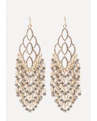 Bebe | Metallic Beaded Fringe Earrings | Lyst
