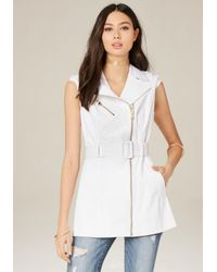 Bebe | White Sleeveless Moto Trench Coat | Lyst