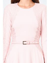 Bebe Pink Lace Detail Flared Dress