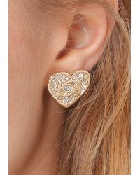 Bebe - Metallic Logo Crystal Heart Earrings - Lyst