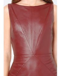 Bebe - Red Seamed Faux Leather Dress - Lyst