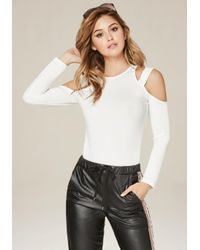 Bebe | White Strappy Cold Shoulder Top | Lyst