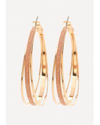 Bebe | Metallic Glitter 3-hoop Earrings | Lyst