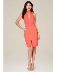 Bebe | Multicolor Belted Midi Dress | Lyst