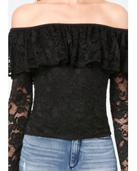 Bebe - Black Lace Ruffle Shoulder Top - Lyst