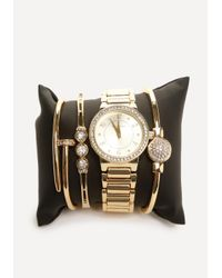 Bebe Metallic Watch & Bracelet Set