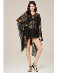 Bebe | Black Lace Poncho | Lyst