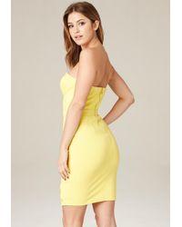 Bebe - Yellow Taryn Grommet Hem Dress - Lyst