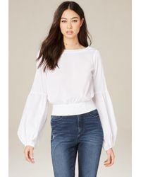 Bebe | White Blouson Sleeve Top | Lyst