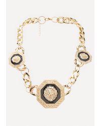 Bebe | Metallic Lion Station Necklace | Lyst