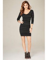 Bebe | Black Striped Double V-neck Dress | Lyst